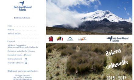 Association Saint-Amand-Montrond / Riobamba – Saison culturelle 2018 – 2019